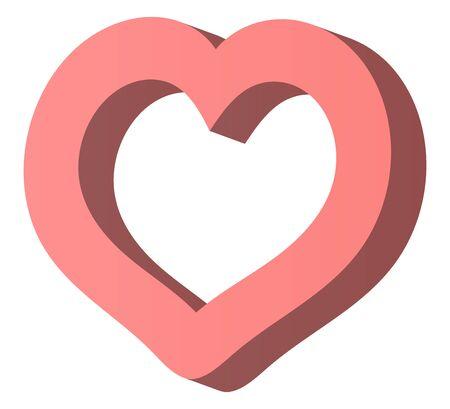 3d heart mark isolated vector illustration.