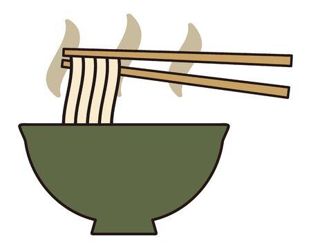 Udon noodles isolated vector illustration. Vektorové ilustrace