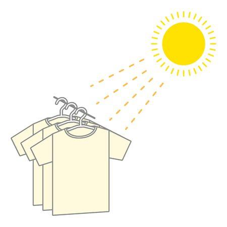 Sun drying shirts under the sun. Vetores