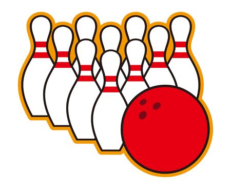 Bowling pins and balls isolated vector illustration.  イラスト・ベクター素材