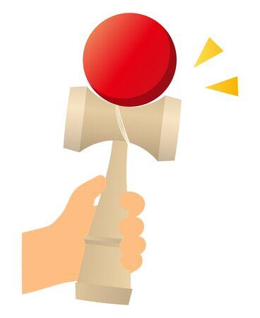 play kendama isolated vector illustration