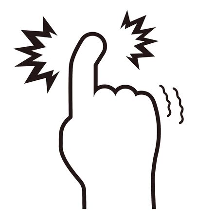 Jammed finger index finger isolated vector illustration