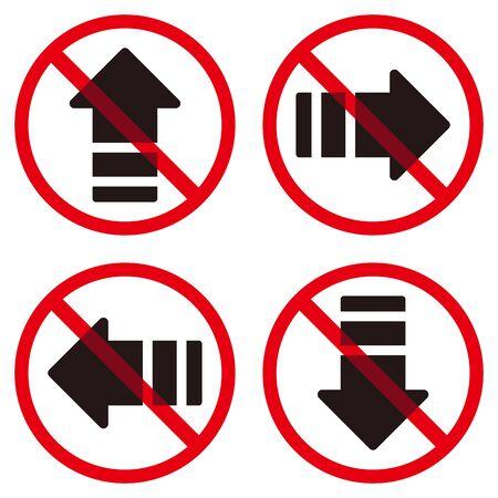 Arrows and prohibition marks Ilustração