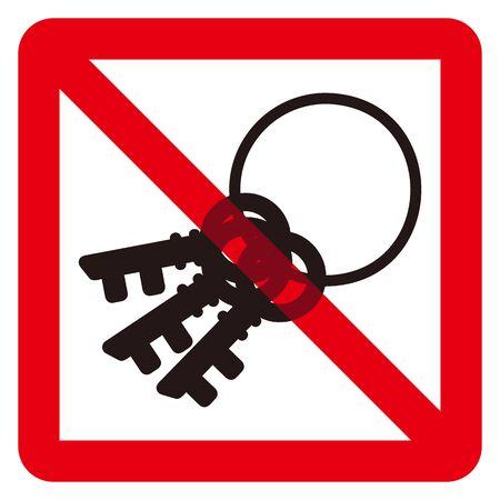 no key sign Ilustração