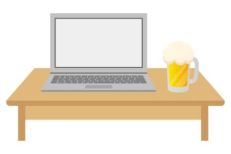Laptop and beer  illustration.