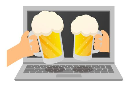 online drinking party  illustration.