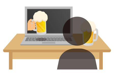 online drinking party Illustration