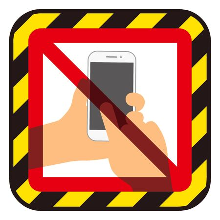 Prohibited smartphone use mark Иллюстрация
