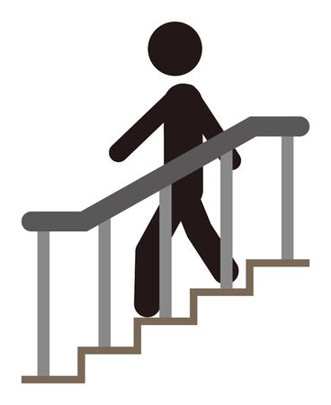 A person descending the stairs. 일러스트