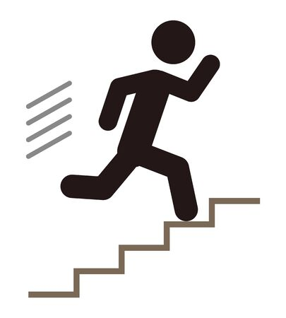 A person running up the stairs. 일러스트