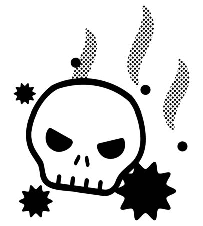 Skull and exclamation mark Ilustrace