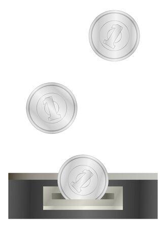 1 yen insertion slot