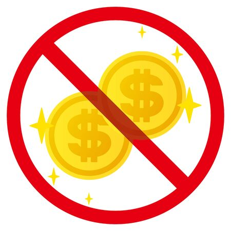 No dollar coins sign
