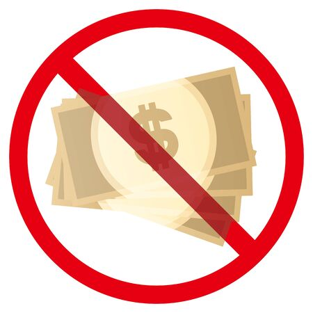No dollar banknotes sign