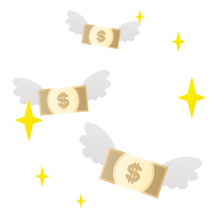 Flying dollar bills.