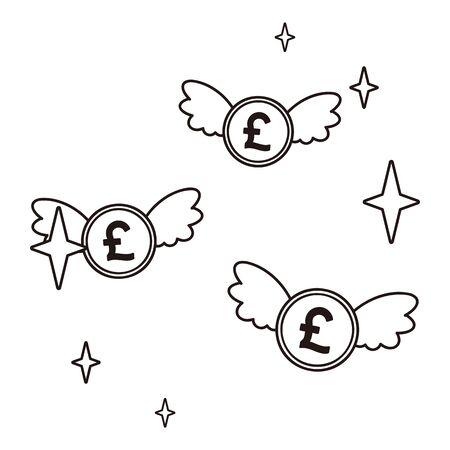 Flying pound coins Ilustración de vector