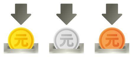 Renminbi coin slot set