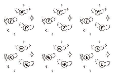 Flying coins with currency symbol set
