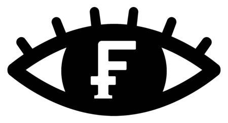 Swiss Franc symbol with eye