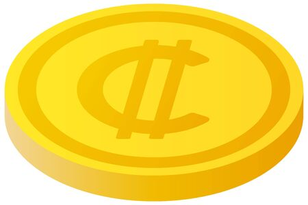 The Colon currency symbol coin