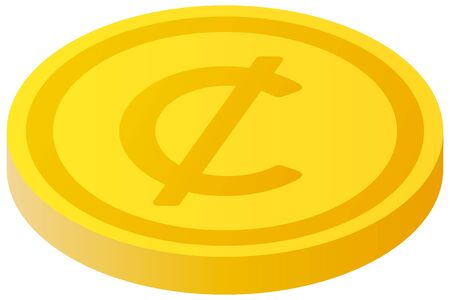 The Cent currency symbol coin