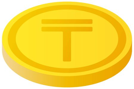 The Tenge currency symbol coin