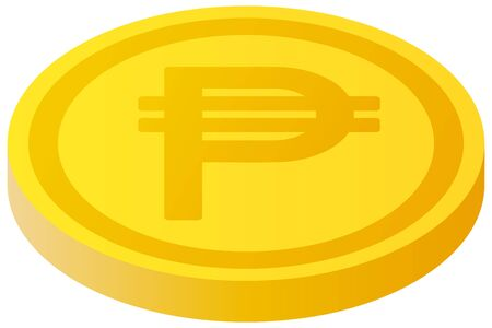 The Philippine peso currency symbol coin