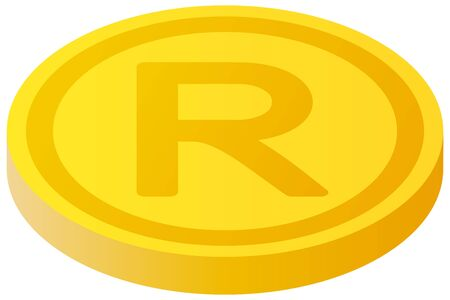 The South African Rand currency symbol coin Illustration
