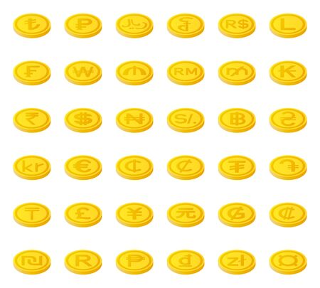World currency symbol coins set