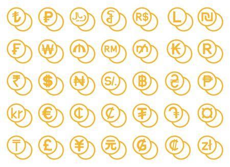 currency symbols set Stock Illustratie