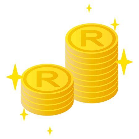The South African Rand currency symbol coins Illusztráció