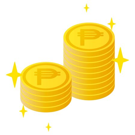 The Philippine peso currency symbol coins