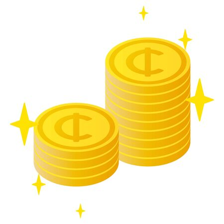 The Ghana cedi currency symbol coins