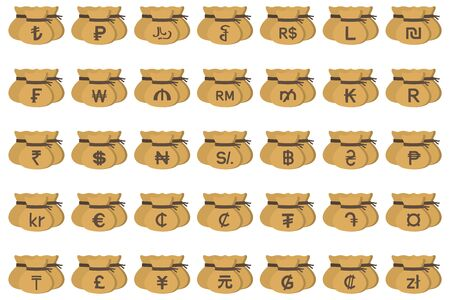World currency symbol drawstring bags set