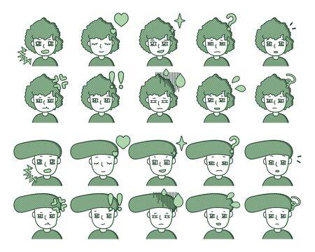 green person illustration expression variation 33