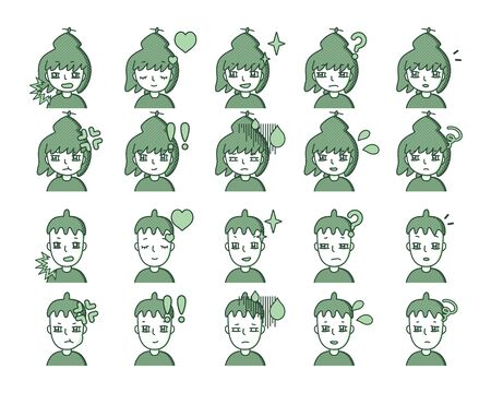 Illustration of a green person Expression variation 21