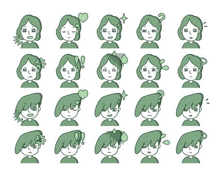 Illustration of a green person Expression variation 19