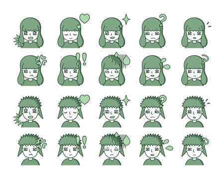 Illustration of a green person Expression variation 16 Vettoriali