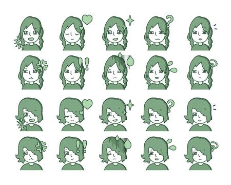 Illustration of a green person Expression variation 10