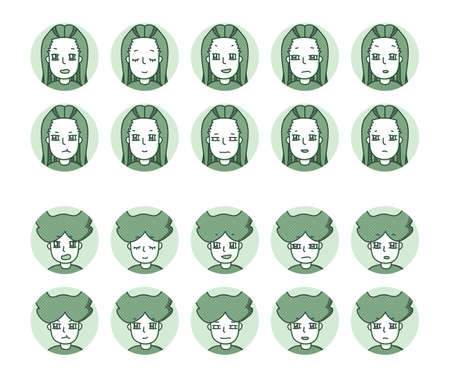 Two people icon (green) Expression variation 2 Vectores
