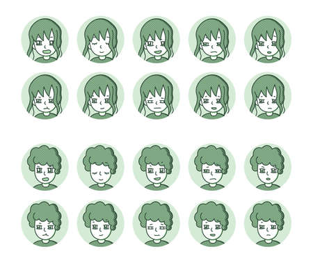 Two people icon (green) Expression variation 3 Vectores