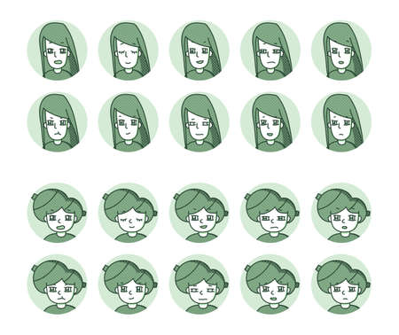 Two people icon (green) Expression variation 6 Vectores
