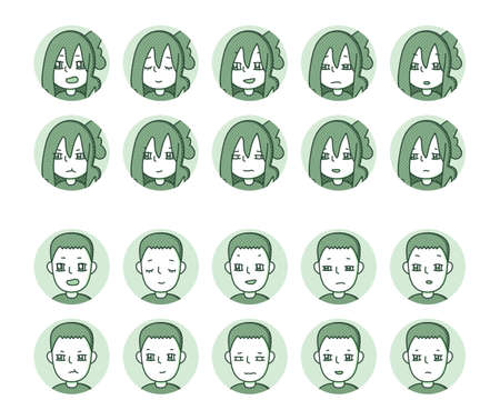 Two people icon (green) Expression variation 8 Vectores