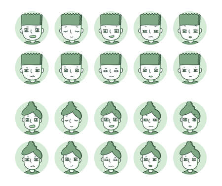Two people icon (green) Expression variation 12 Vectores
