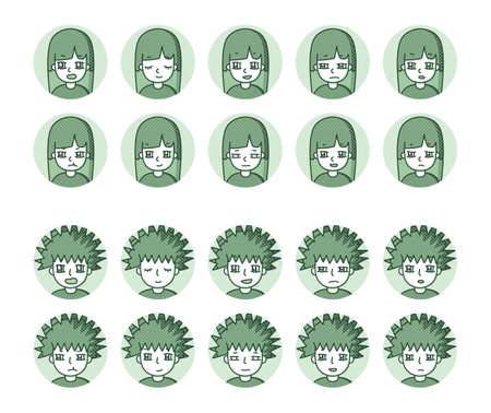Two people icon (green) Expression variation 15 Vectores