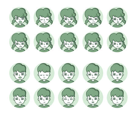 Two people icon (green) Expression variation 17 Vectores
