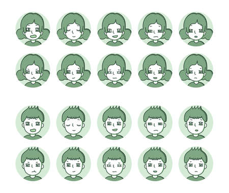 Two people icon (green) Expression variation 20 Vectores