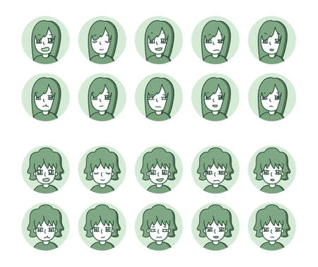 Two people icon (green) Expression variation 22 Vectores