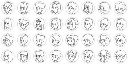 32 kinds of human profile icons(monochrome)2