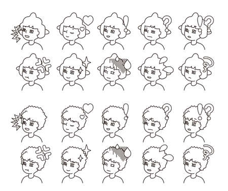 Profile illustration of two people facial expression variation 24  イラスト・ベクター素材